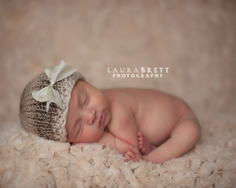 Cream and Brown Variegated Beanie Hat with Detachable Cream Ribbon - newborn baby photo prop