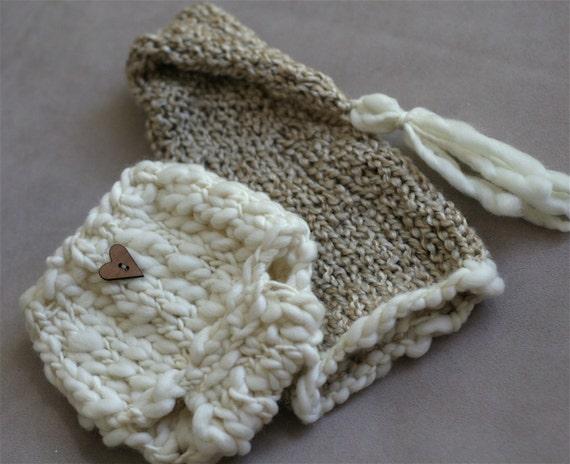 Stocking Cap and Diaper Cover Combo - newborn photo prop