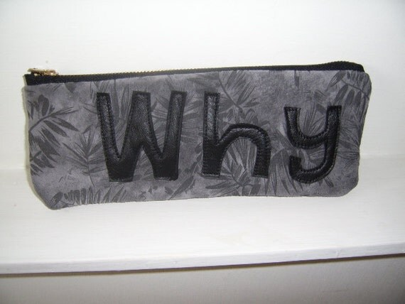 grey leather  pouch, black leather pouch, flowers pouch, recycled leather pouch, leather pencil case, leather make up bag, why pouch