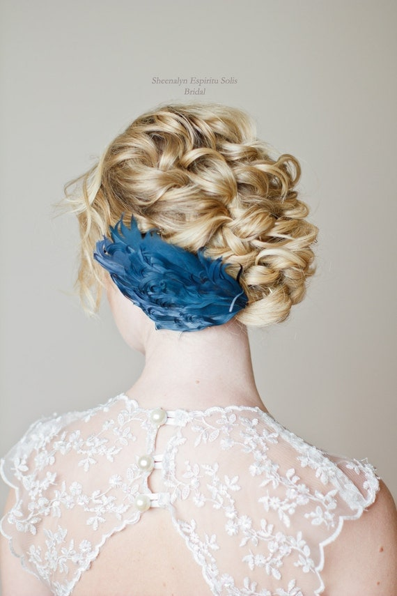 Something Blue Feather Hair Piece Bridal Accessory