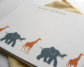 Ecofriendly Custom Safari Stationery / Personalized Stationery - Set of 10