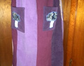 Purple and Pink Corduroy Patchwork Skirt with Mushroom Pockets