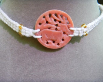 White Hemp Macrame Necklace Choker with Carved Stone Centerpiece