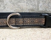 Tan Print Dog Collar - In XL, L, M, Side Release Buckle