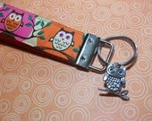 Owls in Orange and Pink Key Fob, Wristlet Style with Owl Charm