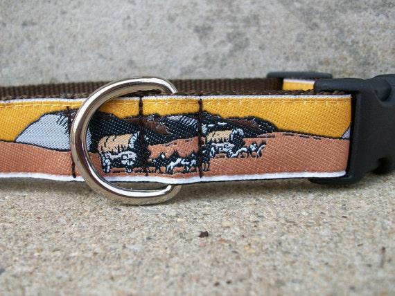 Western Dog Collar - Wagon Train - In M, L, XL, Side Release Buckle