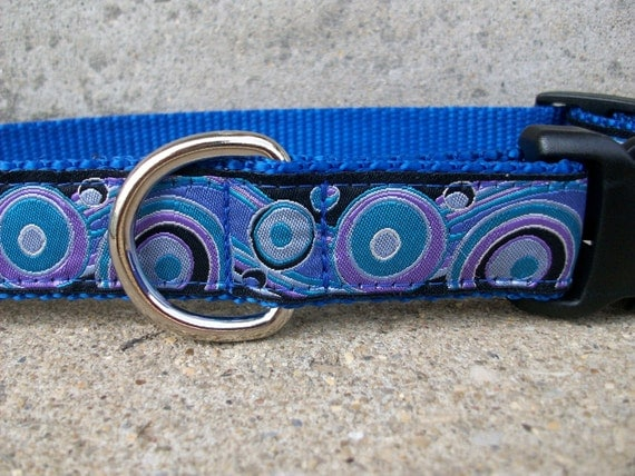 Dog Collar - Blue Circles and Waves, In M, L, XL