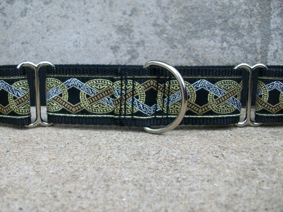 """SALE 1.5"""" Wide Martingale Dog Collar - Silver, Gold and Bronze"""