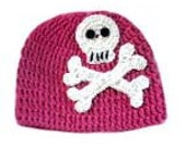 Punk Princess Skully Beanie - Crochet Pirate/Punk/Rock Hat - Size 3-6 Months - READY TO SHIP
