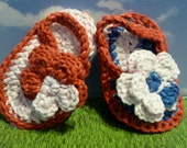 Crochet Flip Flops, size Small - Red, White and Blue Ombre - Great for 4th of July and All Summer Long