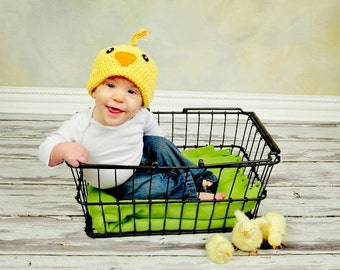 Ready to Ship, Size 6-12 Months - Little Peep - Crochet Easter Chick Beanie - Great for Photographs and Springtime Fun