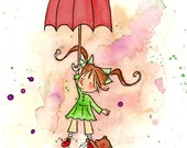 Brunette Girl With Red Umbrella and Teddy Bear  - UP AND AWAY  - Art Print