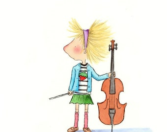 Blonde Girl With Cello and Bluebird  - The CELLIST -  Art Print