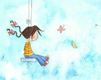 Brunette Girl On Swing - SPRING GIRL - Art Print Children