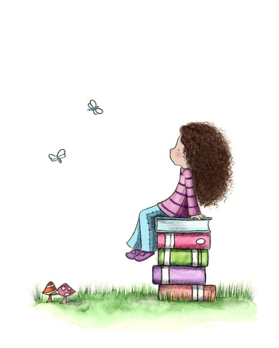 Girl and Books - DAYDREAMING  - Art Print