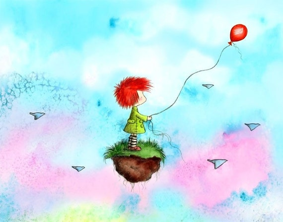 Girl With Red Hair and Green Coat  - The Red Balloon - Art Print - Children