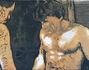 Two Men Woodcut