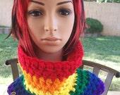 Crocheted Rainbow Cowl/Neckwarmer