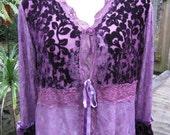 SIREN... gorgeous velvet, lace.STEAMPUNK, gypsy .. chocolate, jet or passionate purple xL / xxl.. generous plus sizing
