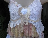 Vintage Kitty.. lace, roses..shabby chic cami , vintage doilies, pearls, pink.. cream, ecru, large