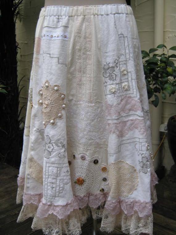 RESERVED for Victorialhq .....Vintage Kitty.. Rosebud .. vintage linens panel skirt..,. cream, ecru, natural tones.. Med - XL
