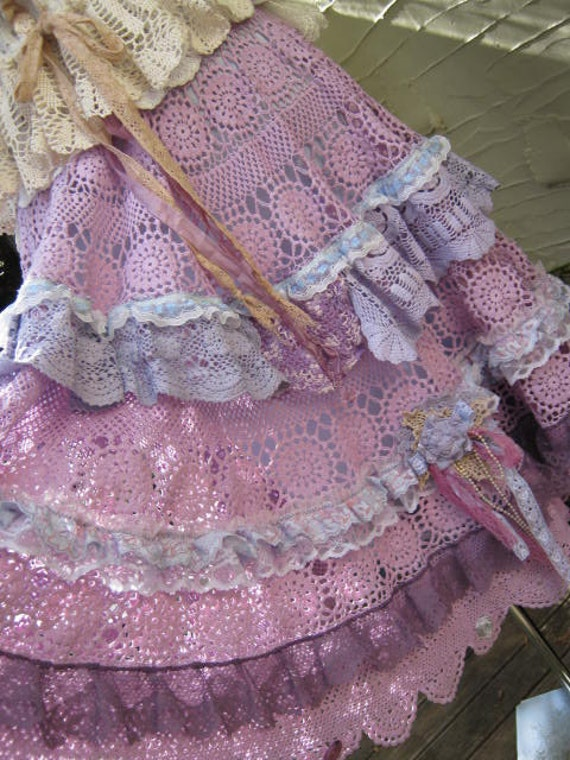 Vintage Kitty.. gorgeous crochet.. full circle skirt.. upcycled.. passionate purple and periwinkle blue tones... one of a kind..  SM-MED