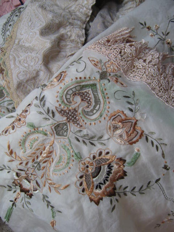 Vintage embroidery stunning upcycled cloth intricate
