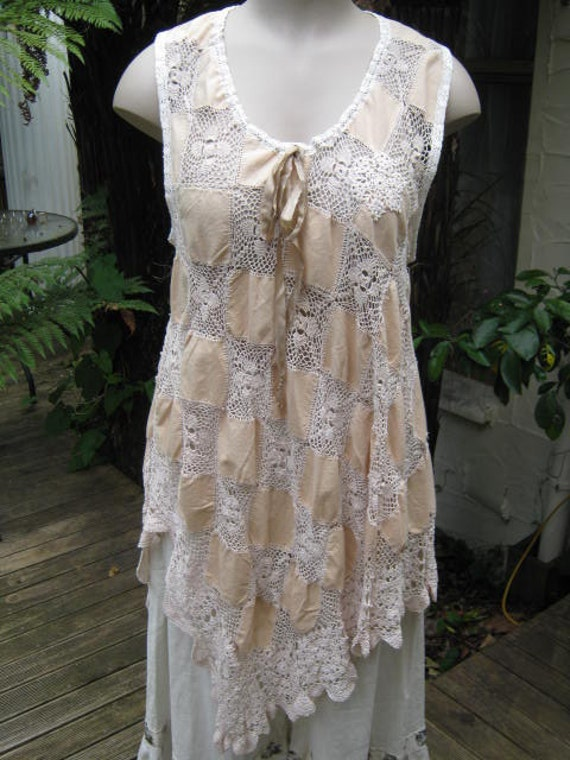 RESERVED FOR SHERI.. crochet and linen .. Vintage Kitty.. Lily Hannah.. upcycled cloth 1940's..  ecru doilies.. tunic...