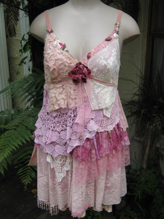 VINTAGE KITTY.. pretty in pink.. shabby chic.. party dress. ooak.. vintage crochet, lace, roses, pearls. hand dyed.. Med - Large