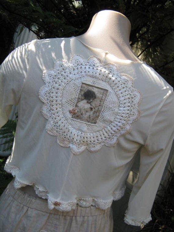 RESERVED for  SALLY .. Vintage Kitty... sweet butter cream mesh shrug...jacket, overtop.. doily, crochet..
