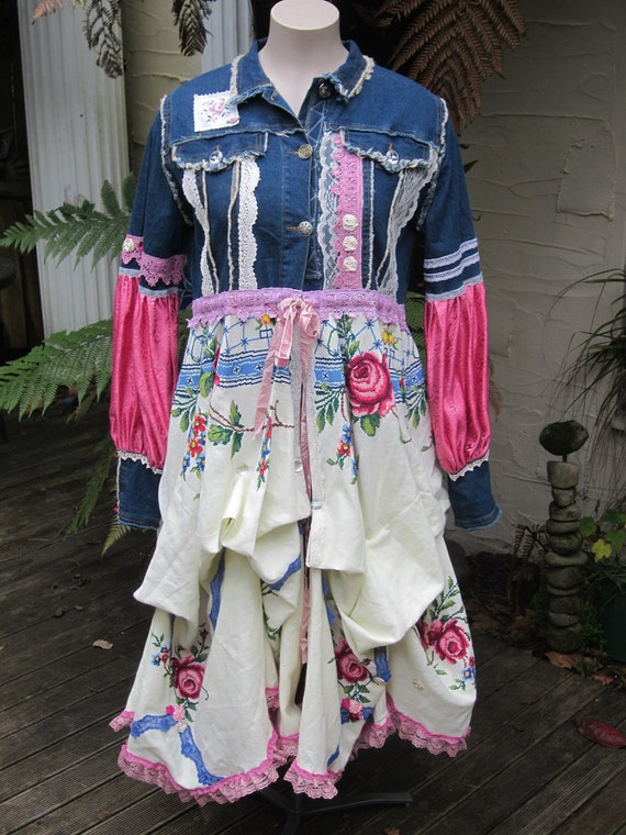 reserved for MARLA... romantic STEAMPUNK Vintage Kitty.. one of a kind .. pink x-stitch roses, denim, lace, shabby chic, Lg - XL