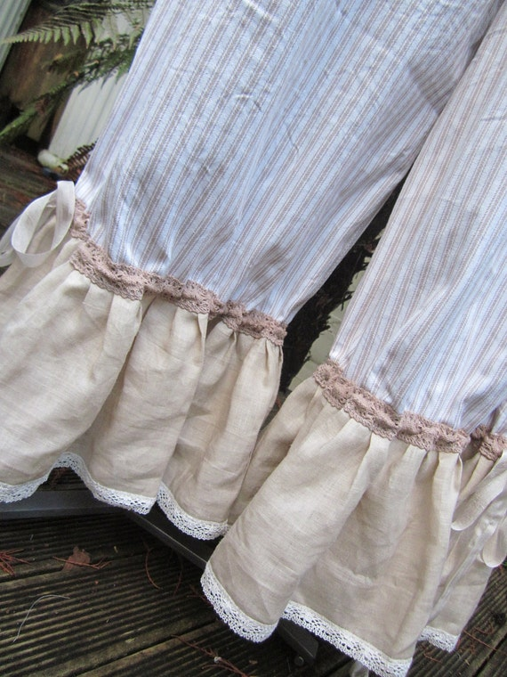 vintage kitty.. lily hannah. ecru and white.. french ticking style ,shabby chic, bloomers.. plus size.. XL - 2XL ..