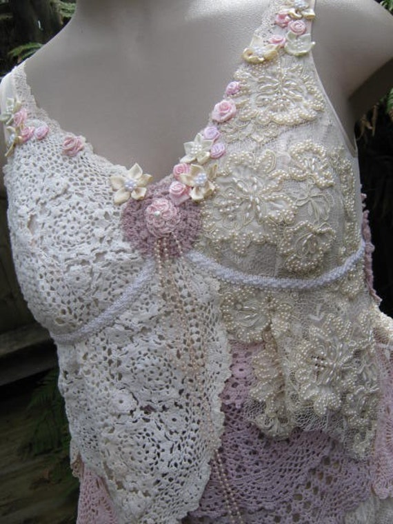 VINTAGE KITTY.. crochet doilies.. shabby chic..lacey layered cami, pearls, roses, wedding couture.. med - large