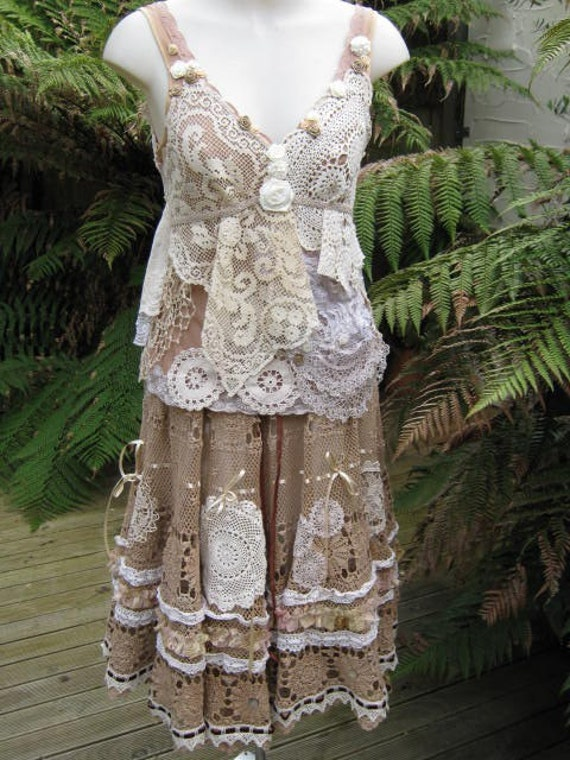 Vintage Kitty.. coffee crochet.. romantic full circle skirt.. shabby chic, hand dyed, lace, roses.. SML - MED - LGE