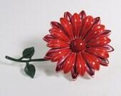 Vintage 1960s Red Flower Brooch Pin Large