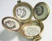 1940s Vintage 4 Photo Locket Coro Cameo Family Photo Album Black White Silhouette