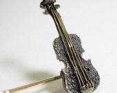Tiny Antique Victorian Violin Stickpin Silver Gold Filled 1880s - Cyber Monday Sale - Coupon Code