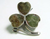 Tiny Antique Victorian Shamrock Pin Irish Connemara Marble Silver Hallmarked C1900 Clover