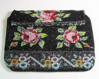 Vintage 1920s Art Deco Beaded Clutch - Purse - Handbag - Floral - Roses - Geometric - Micro Bead