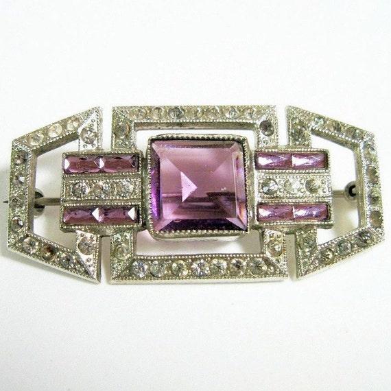 1920s Art Deco Purple Rhinestone Pin Brooch Amethyst Glass Czech Glitzy