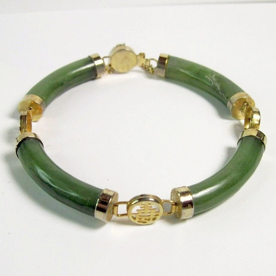 Vintage jade bracelet with chinese characters chinoiserie for Pictures of jade jewelry