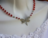 Butterfly Charm with Red Crystal Beads Jewelry Fashion, Spring Jewelry, Red Necklace
