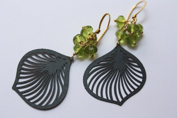Jet Black Lily Petals with Peridot beads Earrings - Free Shipping in US