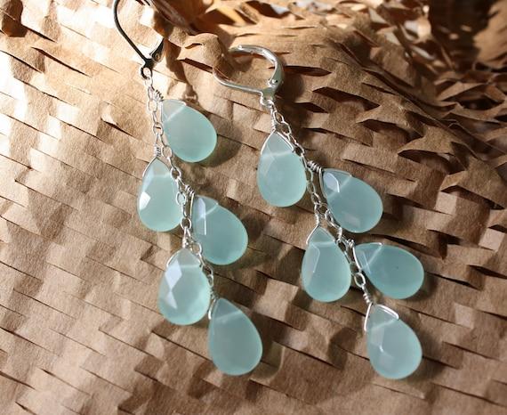 Light Blue Chalcedony Cascade Earrings - Free Shipping in US