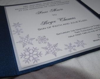 Winter snowflake pocketfold wedding invitation (SAMPLE)
