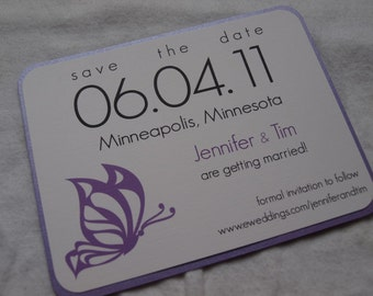 Butterfly save the date card (SAMPLE)