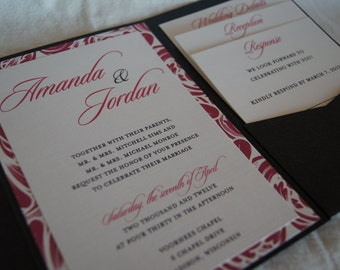 Modern pocketfold wedding invitation (SAMPLE)