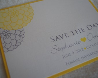 Yellow and gray Dahlia save the date SAMPLE