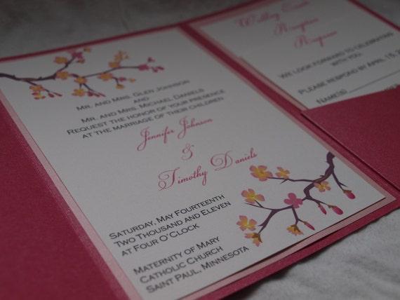 Cherry blossom pocketfold wedding invitation (SAMPLE)