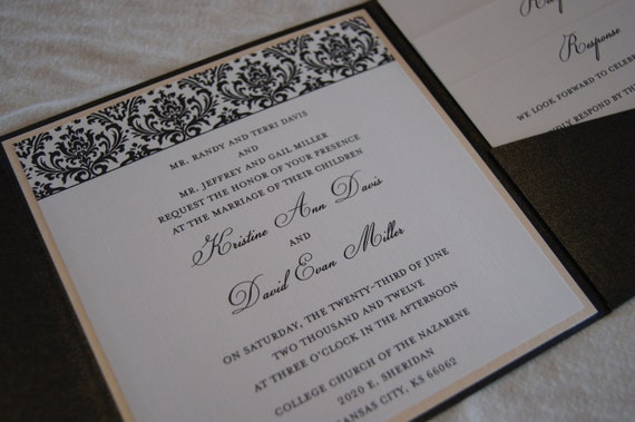 Elegant black and blush damask pocketfold wedding invitation (SAMPLE)